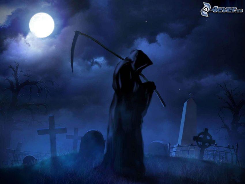 Döden, lie, kyrkogård, måne, natt
