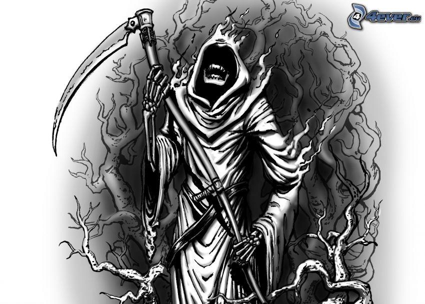 Döden, lie, svart och vitt