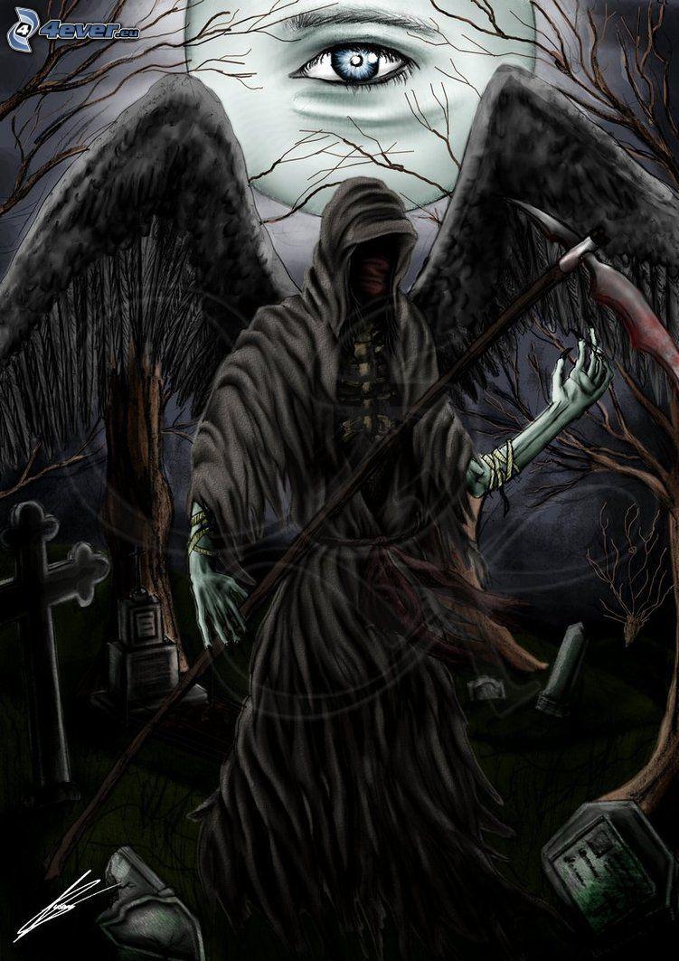 Döden, öga, svarta vingar, natt