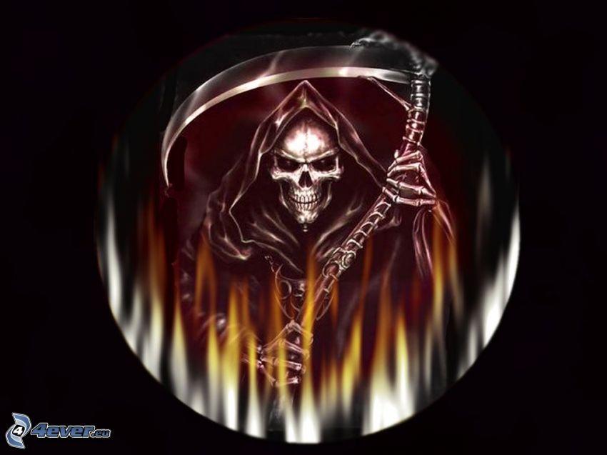 Döden, skelett, lie, helvete, flamma