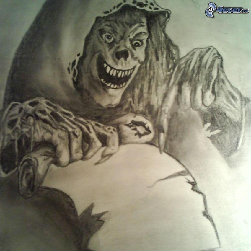 Döden, skelett, nagel