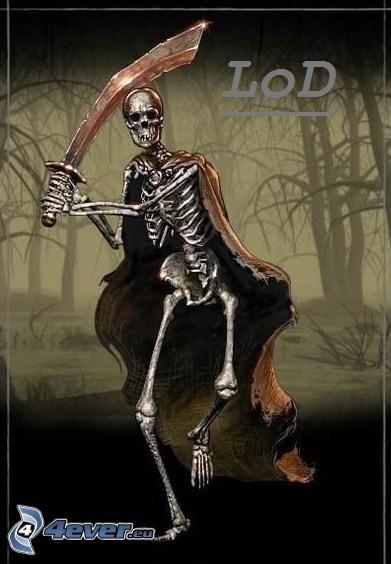 Döden, skelett, svärd, skog