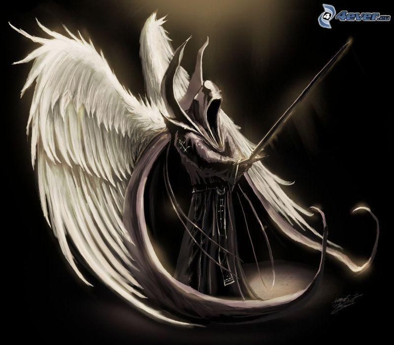 dödens ängel, demon, vita vingar, monster, ondska, svärd, rädsla