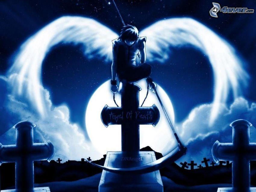 dödens ängel, kyrkogård, lie, vingar