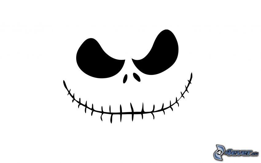 dödskalle, leende, tänder