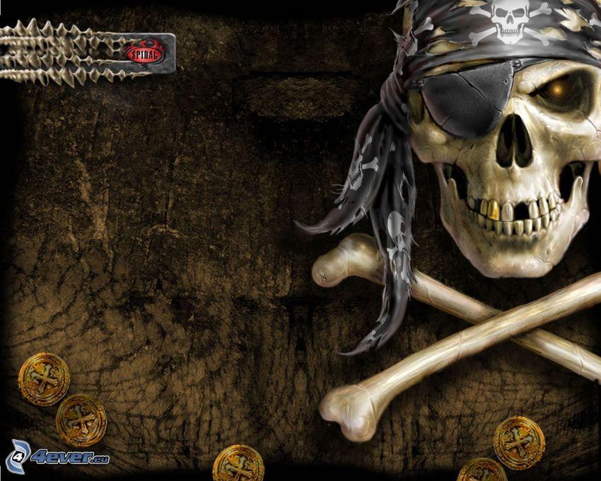 dödskalle, pirat, död, ben