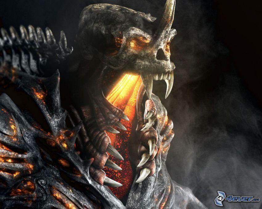 dödskalle, skelett, monster, tänder, rök, lava