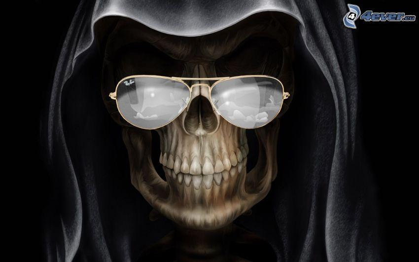 Grim Reaper, dödskalle, skelett, glasögon