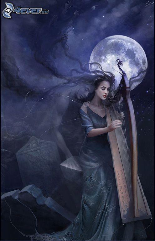 kvinna med harpa, måne, gravar