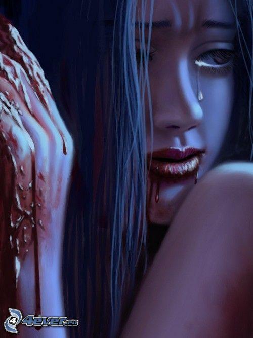 kvinnogråt, vampyr, blod