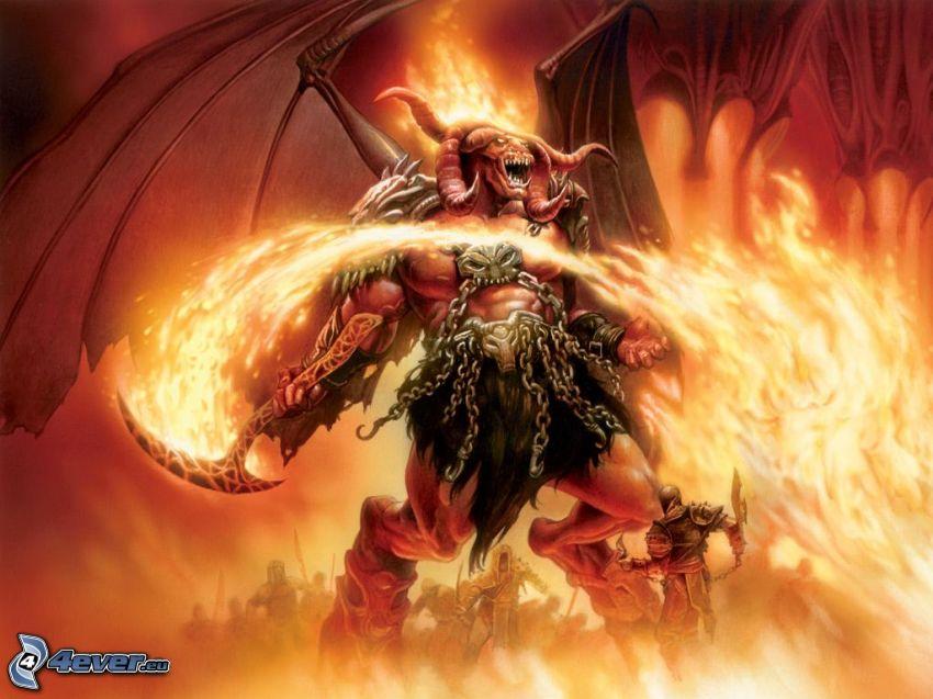 monster, demon, eld, djävulen, ondska, kämpare, vingar
