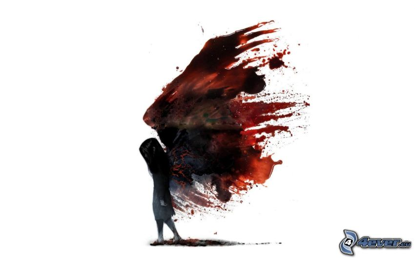 mörk ängel, blod, fläck