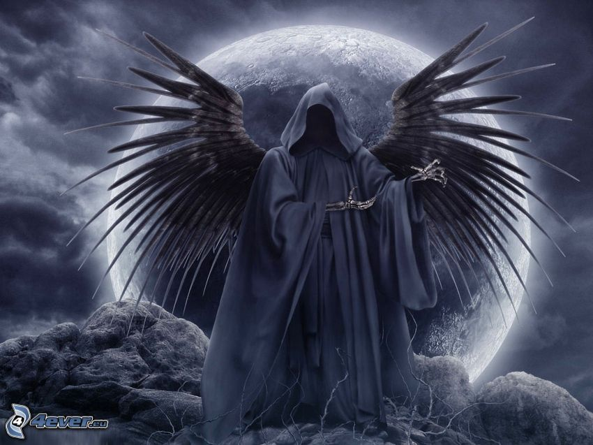 mörk död, svarta vingar, måne, död