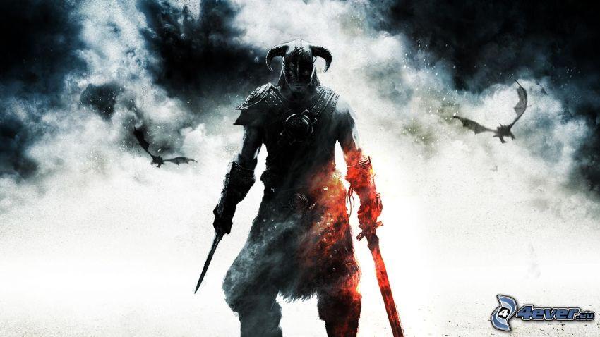 mörk krigare, svärd, rök