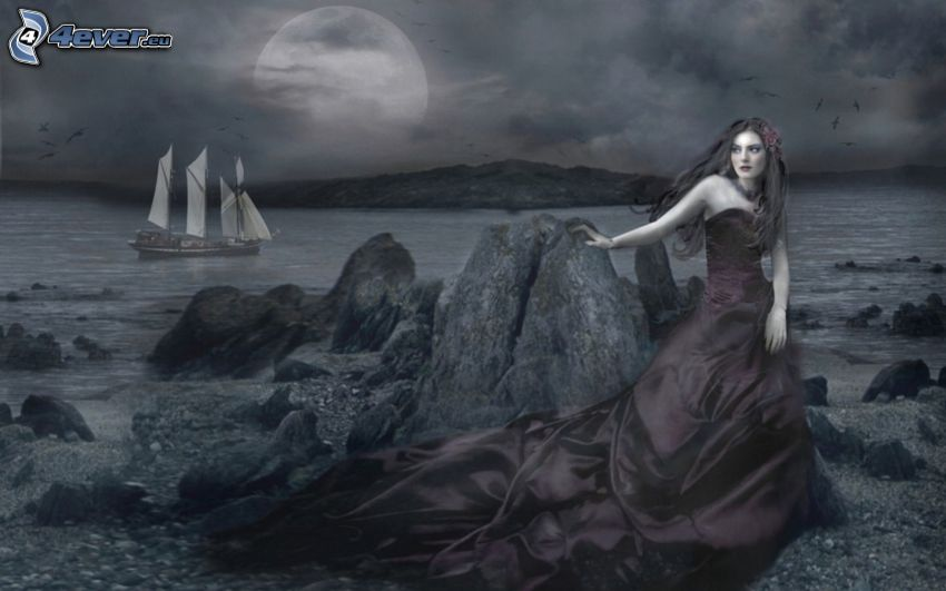 mörk prinsessa, strand, båt