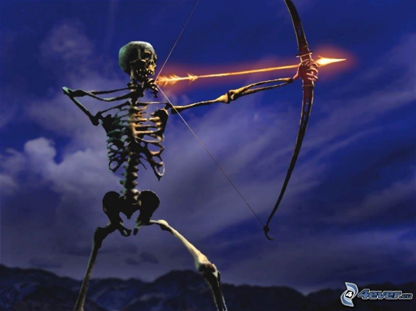 skelett, bågskytt, brinnande pil
