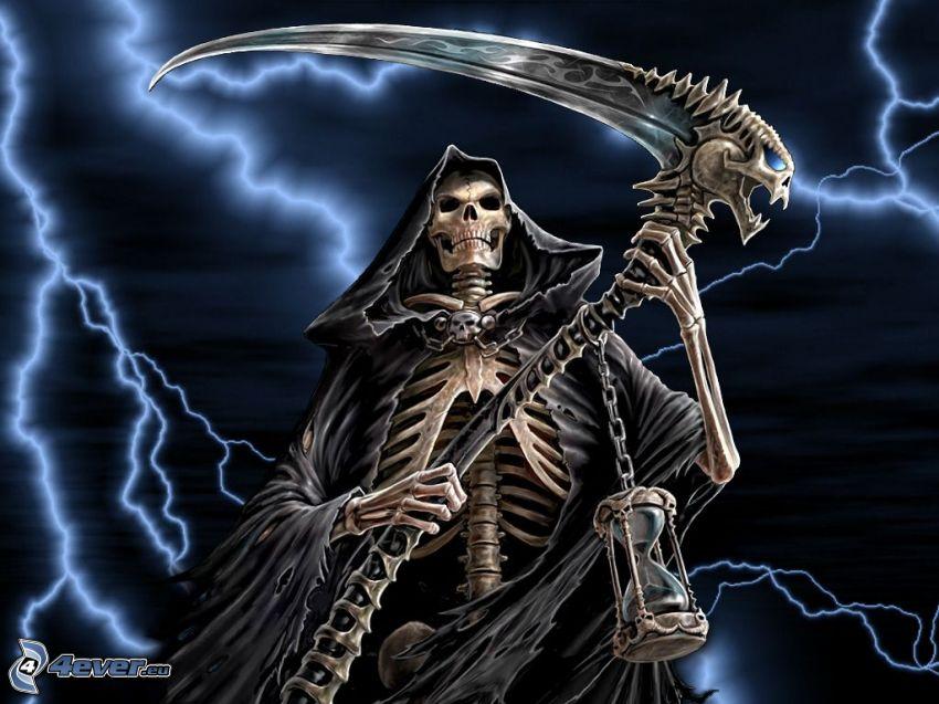 skelett, blixt, Döden, lie, död
