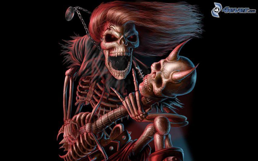 skelett, dödskallar