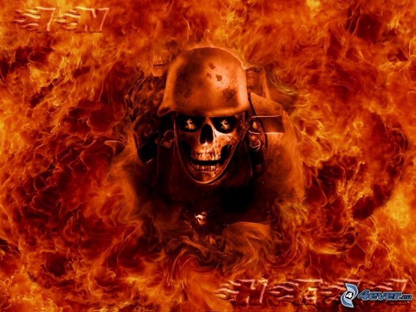 soldat, skelett, eld, dödskalle