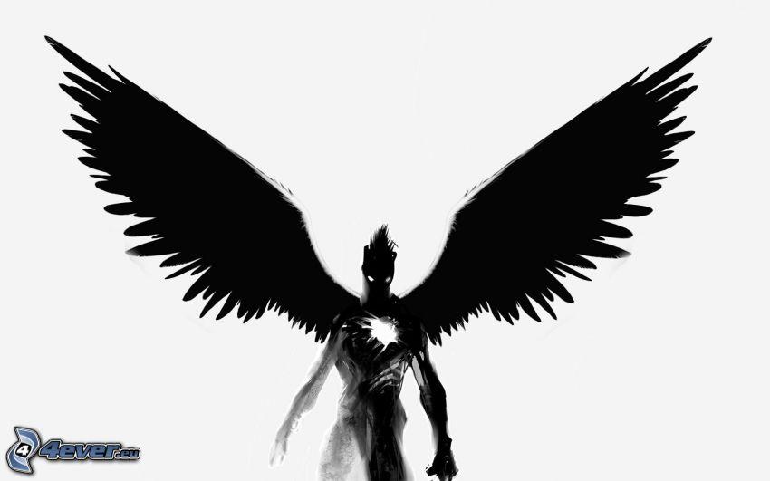 spöklik figur, svarta vingar
