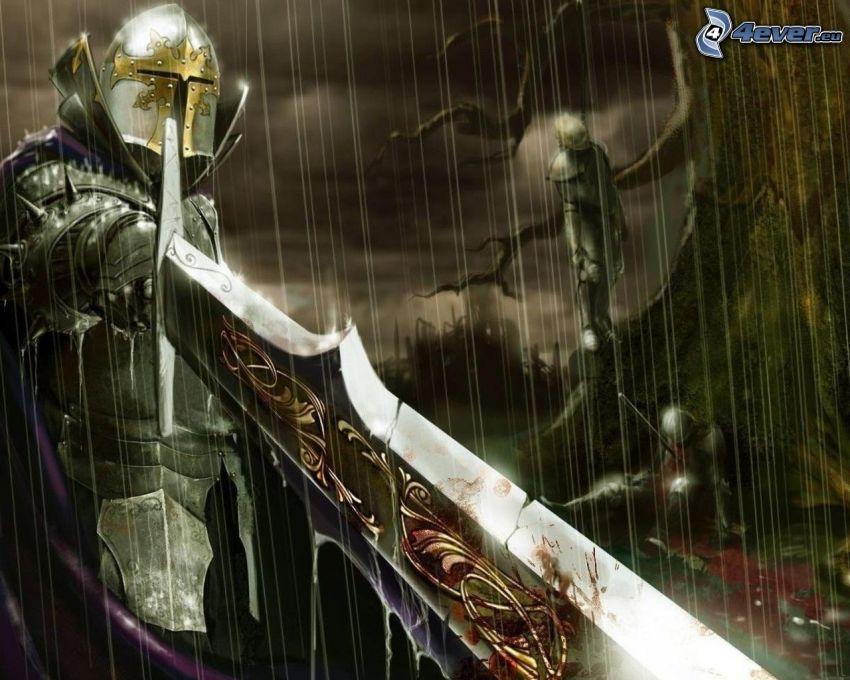 svärd, riddare, slagsmål, lik, mördare, blod