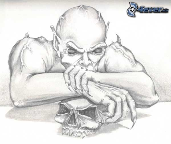 tecknad demon, dödskalle