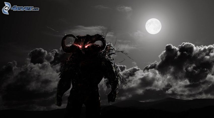 tecknad demon, fullmåne, måne, natt, moln