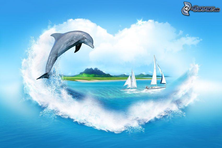 delfin, hav, segelbåtar, hjärta