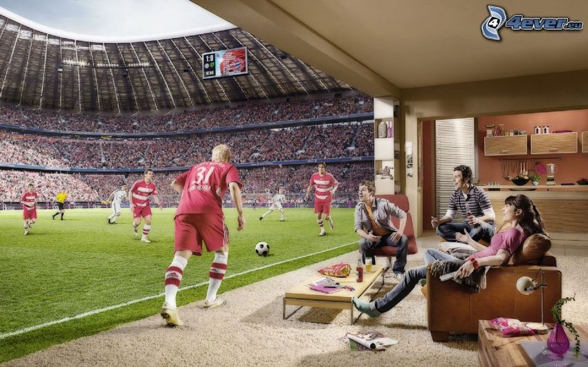 3D, fotboll, stadion, fotbollsspelare, publik, hembio