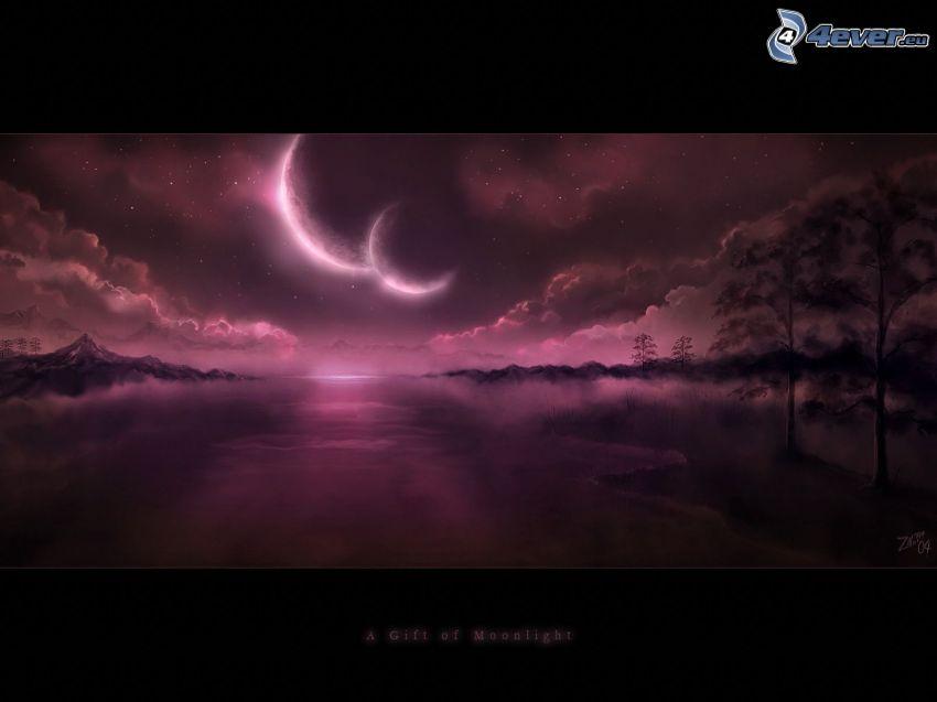 A Gift Of Moonlight, två månar, digitalt vattenlandskap, lila himmel, siluetter av träd