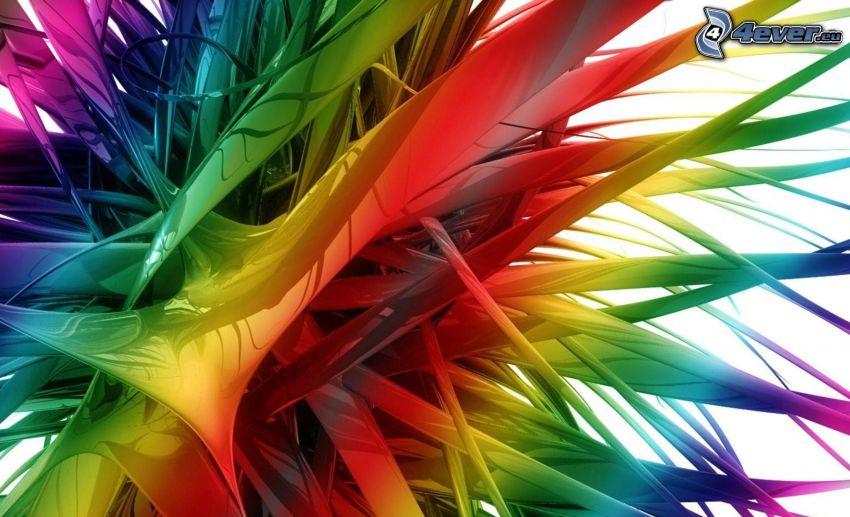 abstrakt, färgat, 3D