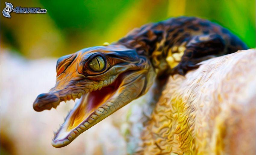 alligator, digital konst