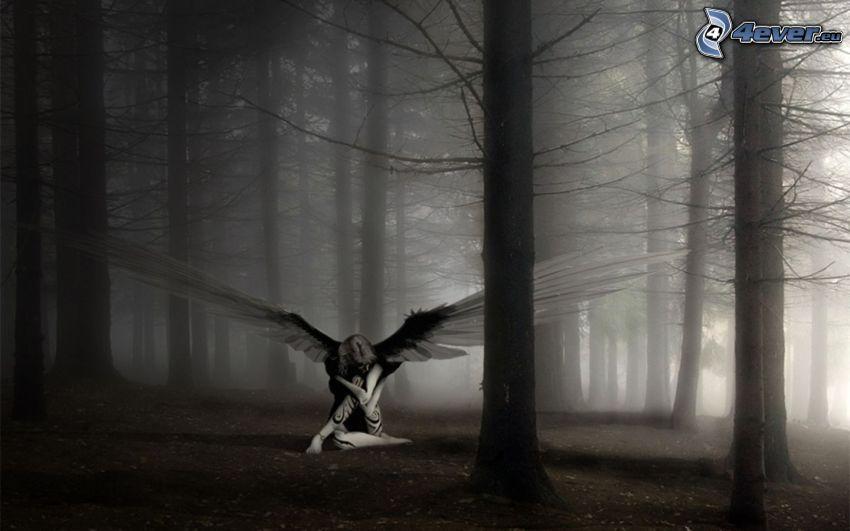 ängel, kvinna med vingar, mörk skog