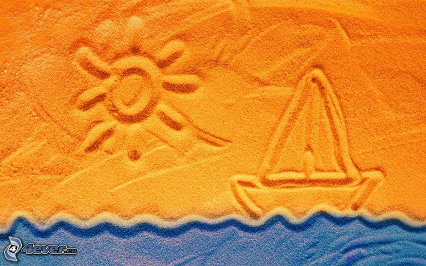 båt, sol, hav, sand