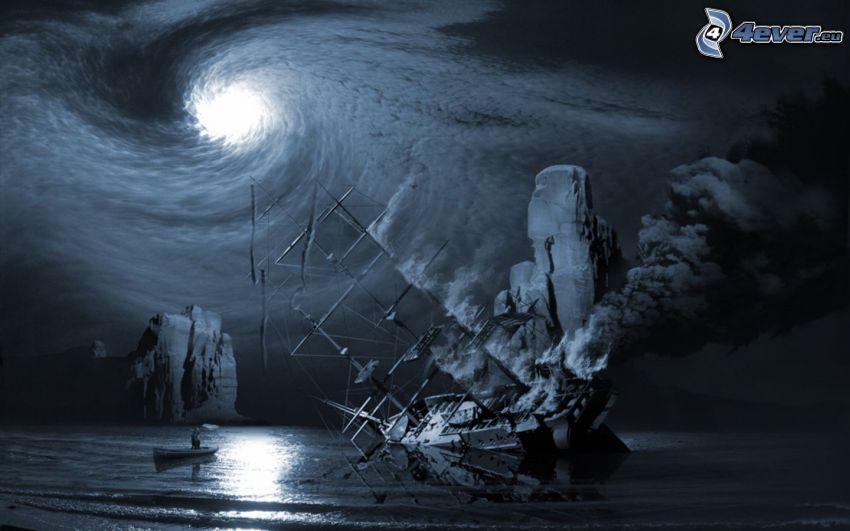 båt, virvel, hav