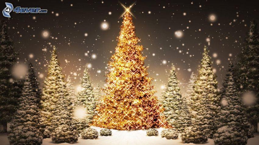 belysta träd, snöklädda träd, snöfall