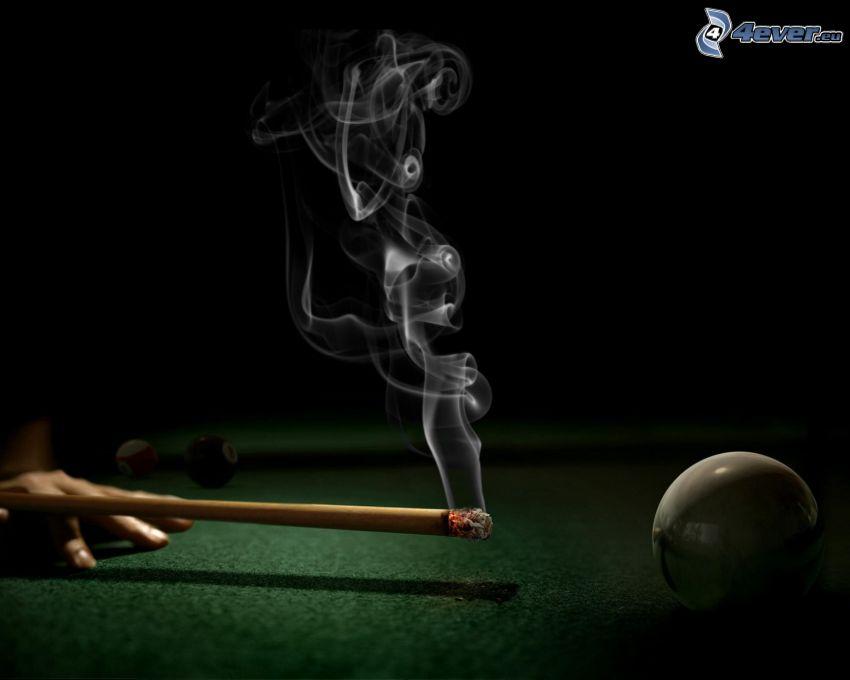 biljard, kö, rök, biljardkula