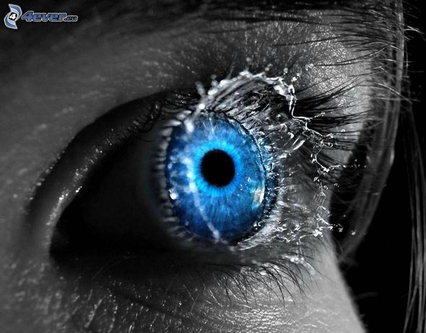 blå ögon, vatten