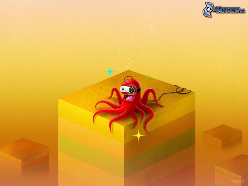 bläckfisk, block, gul bakgrund