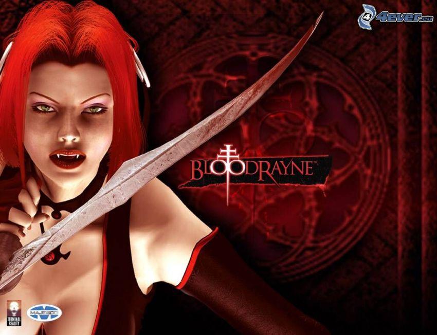 BloodRayne, rödhåring, vampyr, svärd