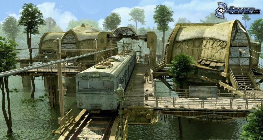bostad, tåg, djungel