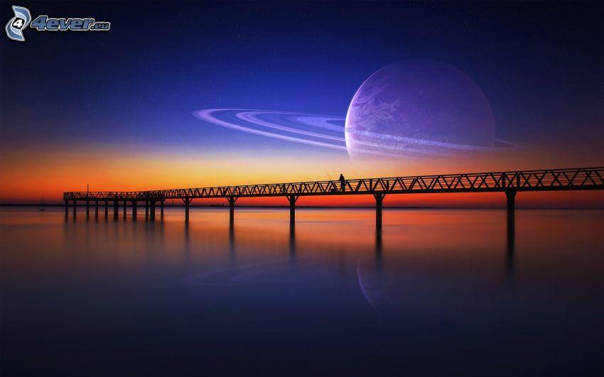 brygga, gångbro, efter solnedgången, planet