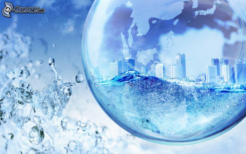 bubbla, stad, vatten