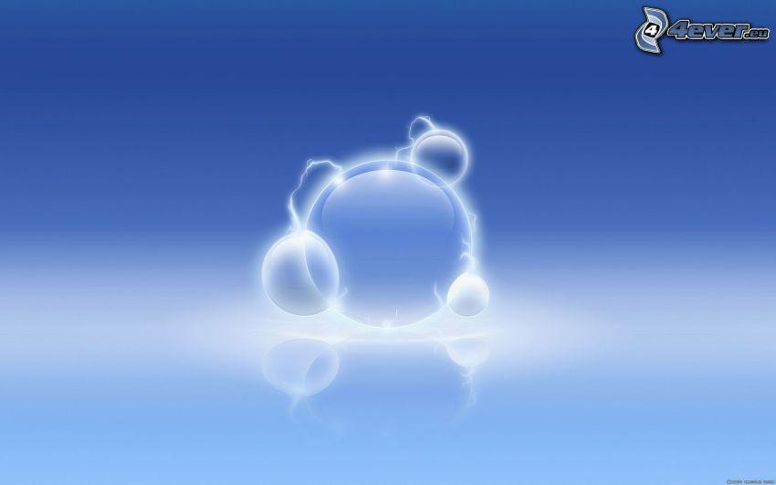 bubblor, blå bakgrund