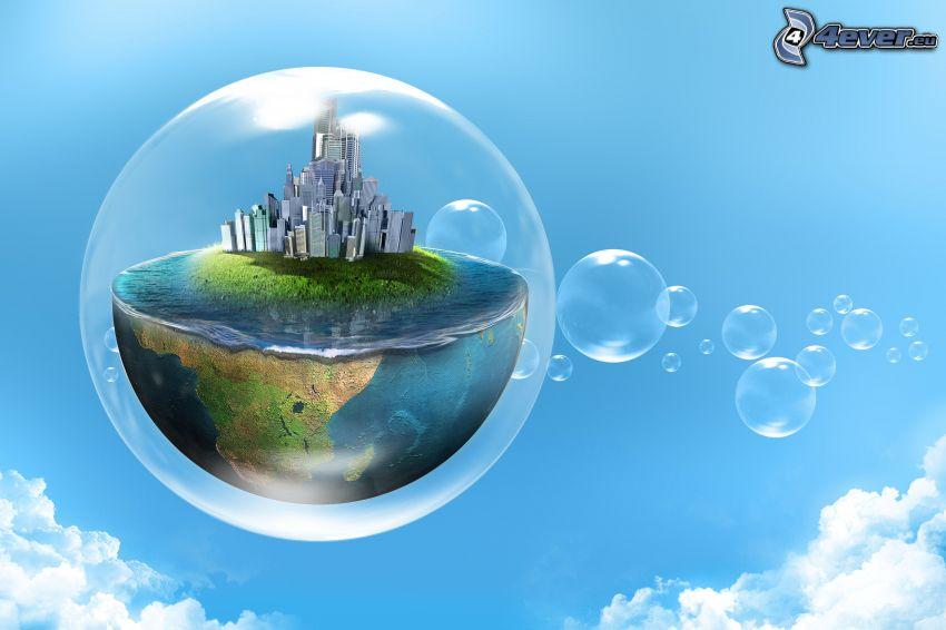 bubblor, världen, himmel