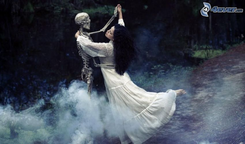 dans, skelett, svarthårig kvinna