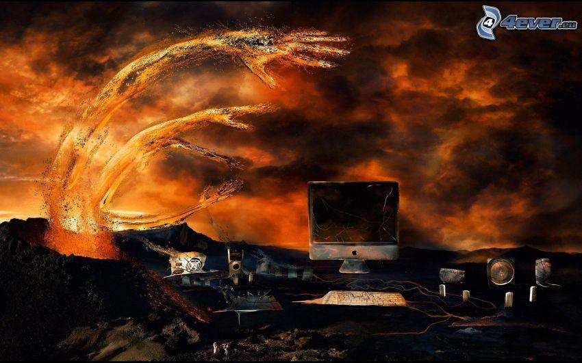 dator, lava, händer