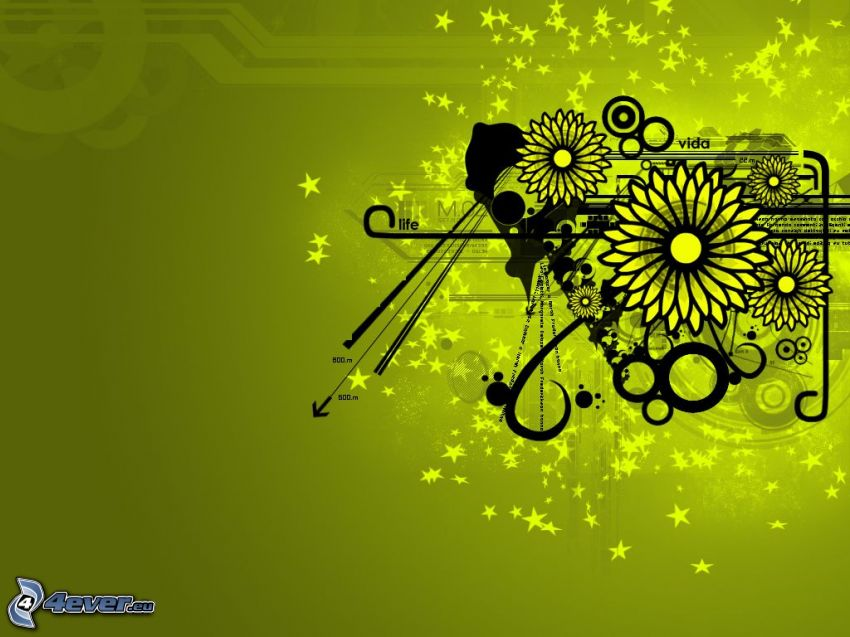 digitala blommor, former