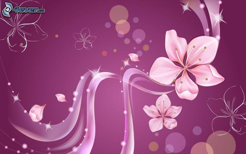 digitala blommor, lila bakgrund