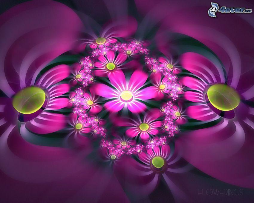 digitala blommor, rosa blommor